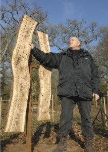 Simon Clements with the OneOak sculpture