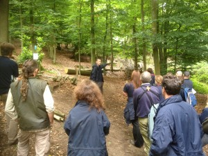 Leo who manages the woodland at Chinthurst Hill explains to his colleagues the current coppicing operations and future plans for the woodland.