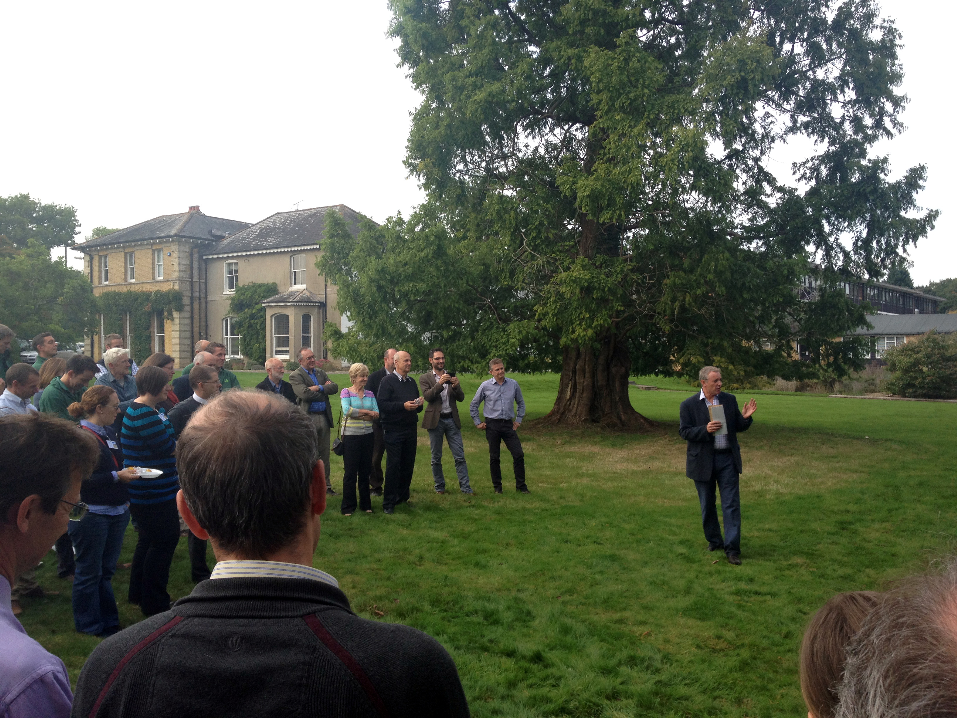 Alan Betts gives his farewell speech to Forestry Commission and Defra colleagues on the Forestry Commission's Alice Holt lawn