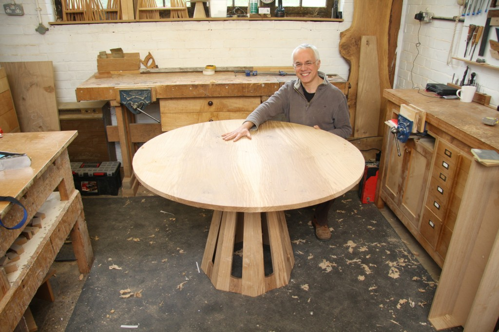 The OneOak pedestal table nears completion