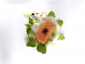 Slow-cooked farmed Scottish salmon, cucumber, Wasabi dressing, pickled mouli