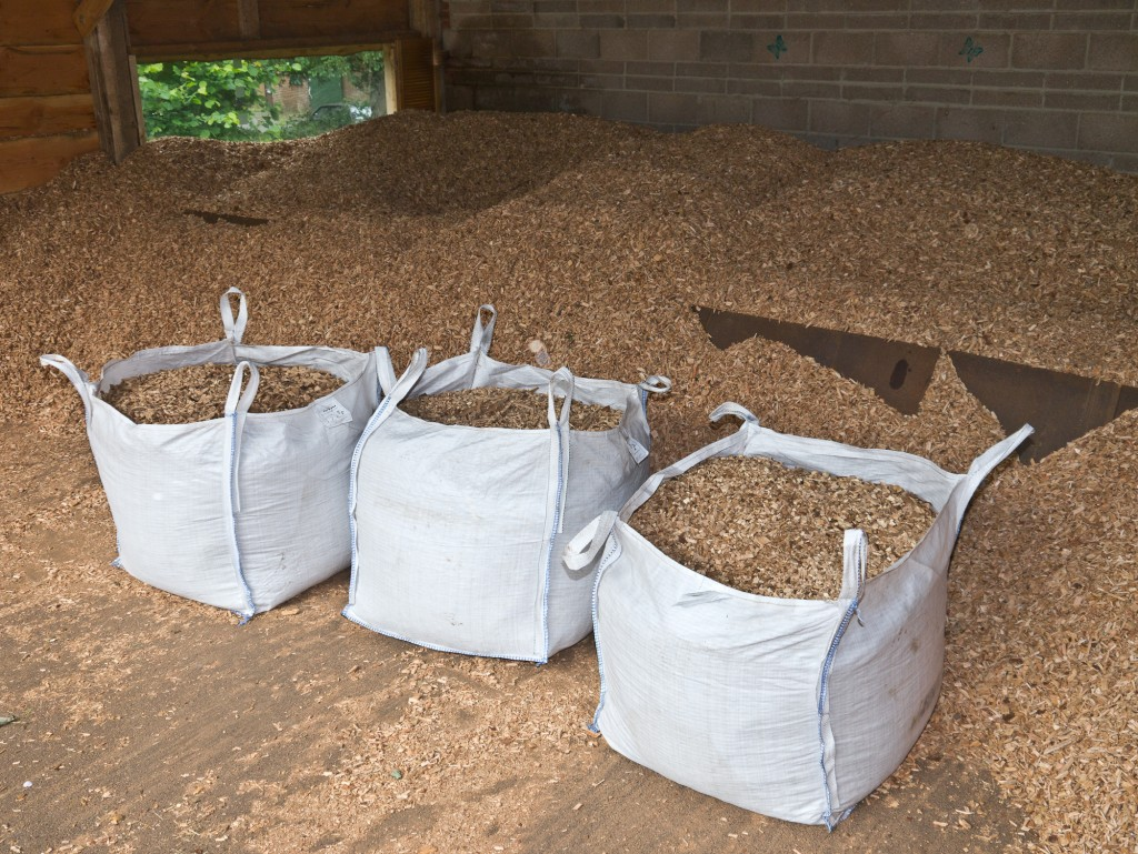The three bags of OneOak woodchip at the Braziers Park woodchip store