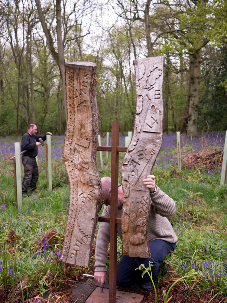 Installing the OneOak memorial sculpture