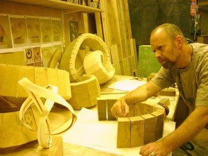 Richard Fox working on the sculpture