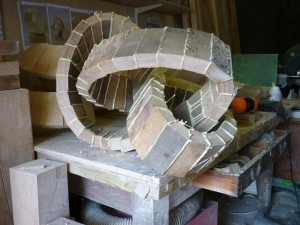 The OneOak moebius sculpture takes shape