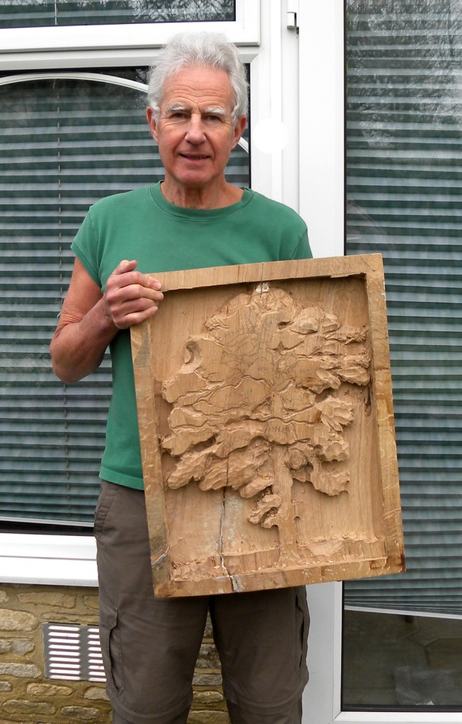Terry Hardaker & relief carving in progress of the OneOak tree