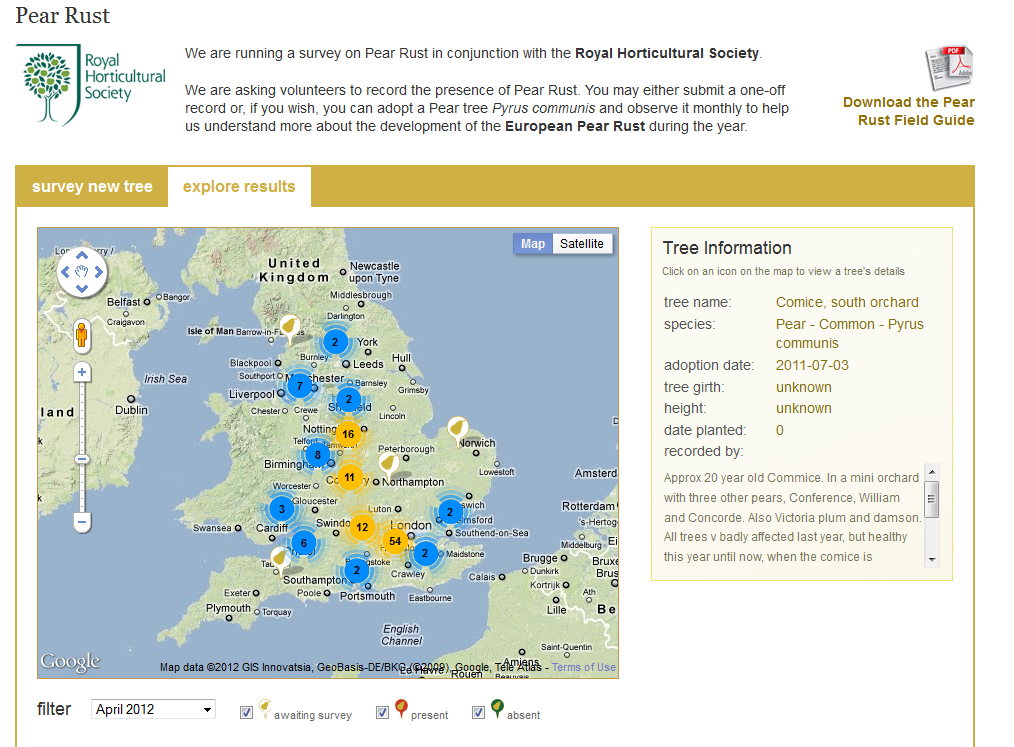 TreeWatch - new look survey page with clustering of data on the map